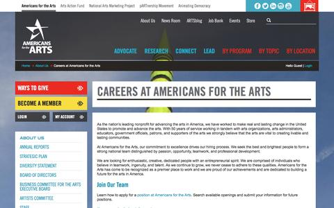 Screenshot of Jobs Page americansforthearts.org - Careers at Americans for the Arts   Americans for the Arts - captured Sept. 23, 2014