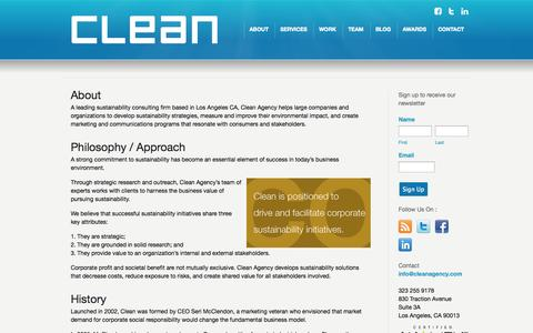Screenshot of About Page cleanagency.com - Clean Agency Sustainability Consulting Los Angeles: About - captured Sept. 29, 2014