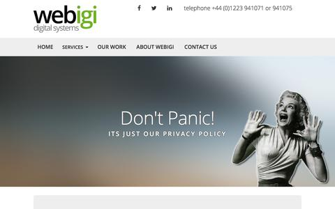 Screenshot of Privacy Page webigi.co.uk - Privacy Policy | Webigi Web Design Cambridge - captured Sept. 20, 2018