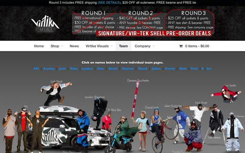 Screenshot of Team Page virtika.com - Pro Team - Virtika Outerwear - captured Oct. 5, 2014