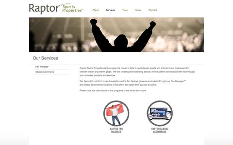 Screenshot of Services Page raptorsports.com - Our Services - captured Oct. 27, 2014