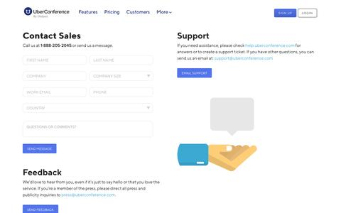Screenshot of Contact Page uberconference.com - Contact Us - Sales, Support, Feedback | UberConference - captured Jan. 17, 2020