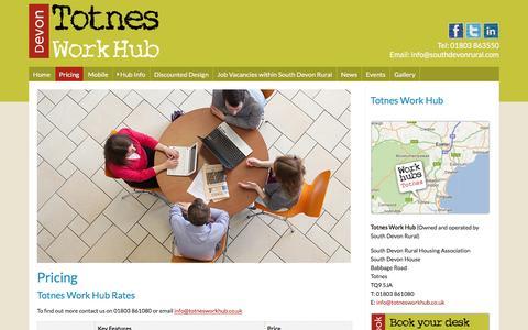 Screenshot of Pricing Page totnesworkhub.co.uk - Totnes Work Hub - captured Dec. 14, 2016