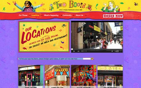 Screenshot of Locations Page twoboots.com - Locations | Two Boots Pizza - captured Jan. 12, 2016