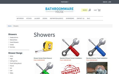 Screenshot of Services Page bathroomwarehouse.com.au - Showers, Shower Heads and Rails | Bathroomware House - captured Sept. 18, 2017