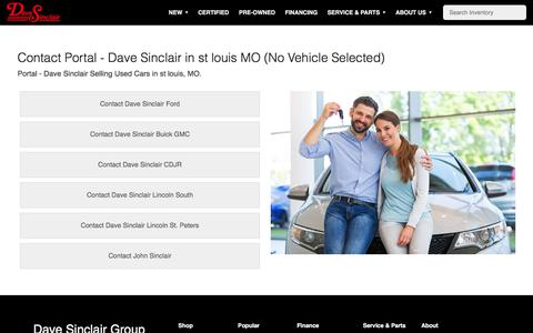Screenshot of Contact Page davesinclair.com - Contact Portal - Dave Sinclair in st louis MO (No Vehicle Selected) - captured July 15, 2019