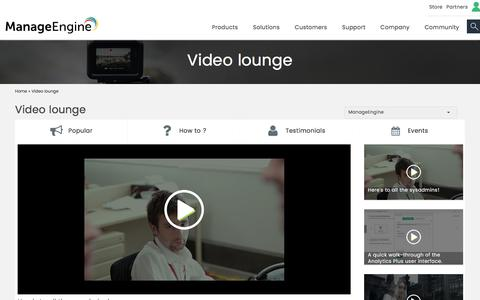 ManageEngine - Video Lounge
