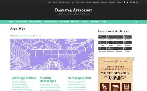 Screenshot of Site Map Page darkstarastrology.com - Site Map - Darkstar Astrology - captured Jan. 25, 2018