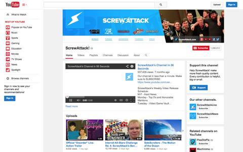 Screenshot of YouTube Page youtube.com - ScrewAttack!  - YouTube - captured Oct. 26, 2014
