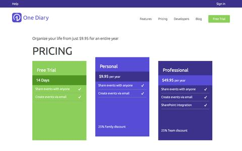 Screenshot of Pricing Page onediary.com - Pricing - One Diary - captured Sept. 17, 2014