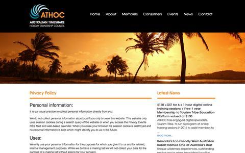 Screenshot of Privacy Page athoc.com.au - ATHOC - captured Feb. 6, 2016