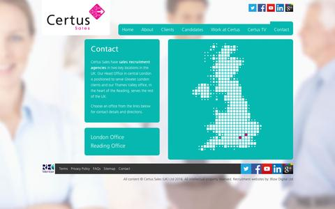 Screenshot of Contact Page certussales.com - Sales Recruitment Agency in London, Reading, Bristol | Certus Sales - captured Jan. 21, 2016