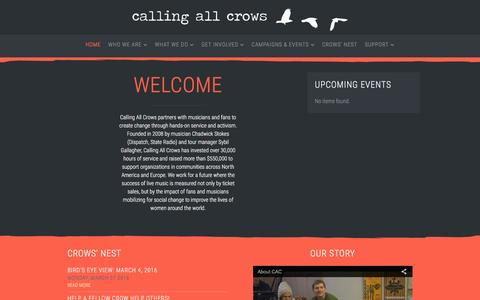 Screenshot of Home Page callingallcrows.org - Calling All Crows - captured July 10, 2016