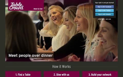 Screenshot of Home Page tablecrowd.com - TableCrowd - Social Dining - Meet & Eat - captured Sept. 19, 2014