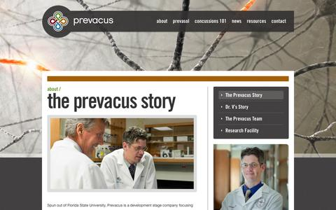 Screenshot of About Page prevacus.com - The Prevacus Story - Prevacus - captured Sept. 12, 2014