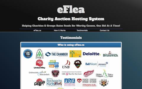 Screenshot of Testimonials Page eflea.ca - EFlea Charity Auction System : Testimonials - captured Sept. 26, 2014