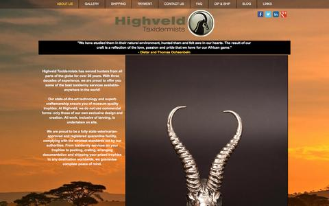 Screenshot of Home Page highveldtaxidermists.com - Highveld Taxidermists   South Africa Taxidermy - captured July 15, 2016