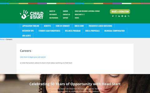 Screenshot of Jobs Page childstart.org - Careers | Child Start - captured July 13, 2016