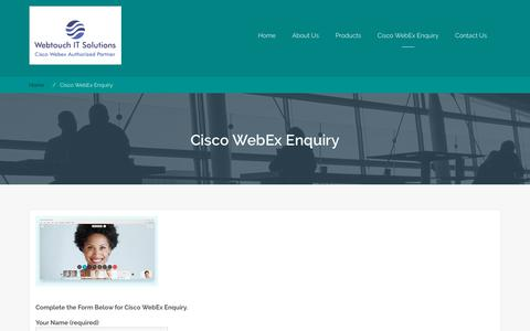Screenshot of Signup Page Trial Page webtouch.co.in - Cisco WebEx Enquiry - Webtouch IT Solutions - captured Oct. 19, 2018