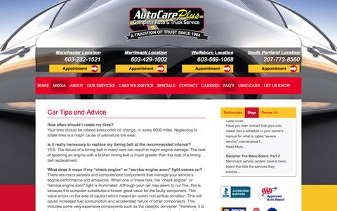 Screenshot of FAQ Page autocareplus.com - Car Tips and Advice - Auto Care Plus - captured Oct. 29, 2014