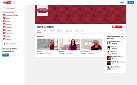 Screenshot of YouTube Page youtube.com - SteinhafelsRelax  - YouTube - captured Oct. 26, 2014