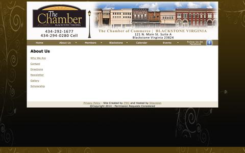 Screenshot of About Page blackstoneva.com - Blackstone Chamber of Commerce - captured May 25, 2016