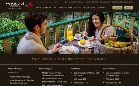 Screenshot of Menu Page narrowsescape.com.au - Enjoy a delicious meal in the privacy of your pavilion. | Narrows Escape - captured Dec. 21, 2016