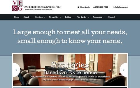 Screenshot of Home Page vfgcpa.com - Charlotte, NC Accounting Firm | Home Page | Vance Flouhouse & Garges, PLLC - captured Feb. 17, 2016