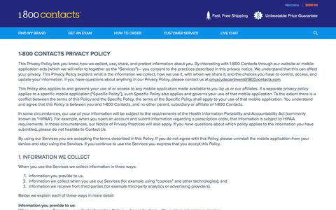 Screenshot of Privacy Page 1800contacts.com - Privacy Policy | 1-800 CONTACTS - captured Sept. 21, 2018