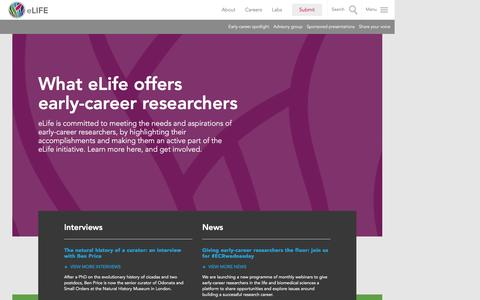 Screenshot of Jobs Page elifesciences.org - Early careers: eLife showcases junior investigators and their work | eLife - captured Sept. 2, 2016