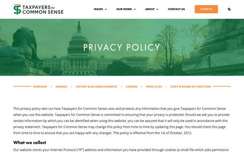 Screenshot of Privacy Page taxpayer.net - Privacy Policy   Taxpayers for Common Sense - captured Oct. 19, 2018
