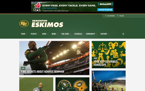 Screenshot of Home Page esks.com - Edmonton Eskimos - Official site - captured Jan. 22, 2016