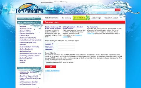 Screenshot of Menu Page buckmansinc.com - Customer Login Water Treatment Chemical Supplier, Ice Melt Distributor, Pool Chemical Supplier - captured Aug. 4, 2018