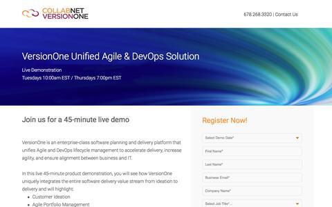 Screenshot of Landing Page versionone.com - VersionOne Unified Agile & DevOps Demo - captured May 18, 2018