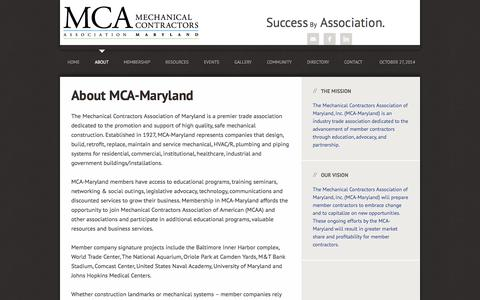 Screenshot of About Page mca-maryland.org - About MCA-Maryland | MCA Maryland - captured Oct. 27, 2014