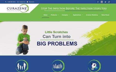 Screenshot of Press Page curazene.com - Curazene, LLC - products to kill bacteria and eliminate skin irritants - captured Oct. 3, 2014