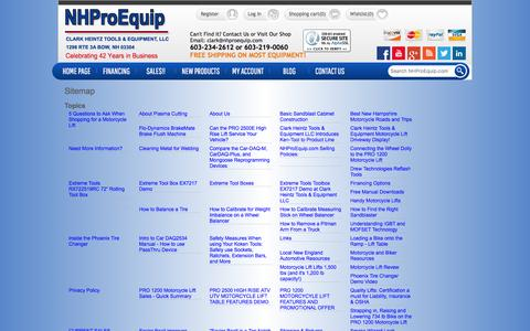 Screenshot of Site Map Page nhproequip.com - Sitemap | Automotive Tools and Equipment, Motorcycle Lifts | NHProEquip.com - captured Jan. 28, 2016