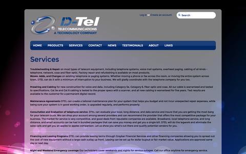 Screenshot of Services Page dteltel.com - Services – DTel Telecommunications - captured Oct. 1, 2014