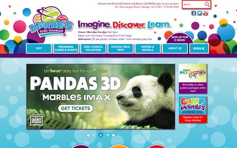 Screenshot of Home Page marbleskidsmuseum.org - Marbles Kids Museum - captured April 26, 2018