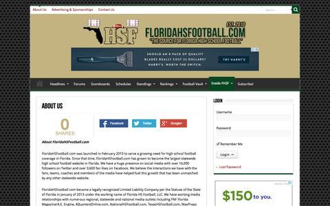 Screenshot of About Page floridahsfootball.com - About Us | Florida HS Football - captured Oct. 6, 2014