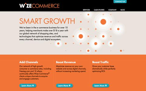 Screenshot of Home Page wizecommerce.com - Wize Commerce - captured Sept. 18, 2014