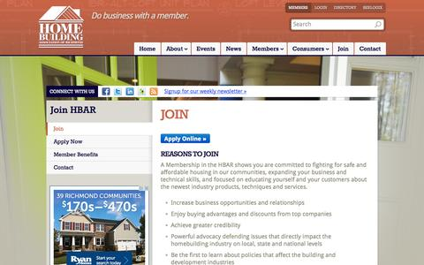 Screenshot of Signup Page hbar.org - Reasons to Join HBAR - The Home Building Association of Richmond - captured Oct. 27, 2014