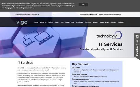 Screenshot of Services Page vigosoftware.com - Services   Vigo - captured Feb. 14, 2016