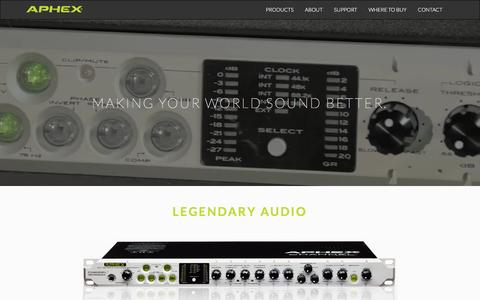 Screenshot of Home Page aphex.com - Aphex | Products for Professional Audio, Recording, Broadcast, Audio Applications - captured Nov. 21, 2016