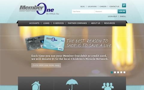 Screenshot of Home Page memberonefcu.com - Financial Products in Roanoke Virginia Member One Federal Credit Union | Member One - captured Sept. 23, 2014