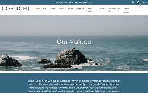 Screenshot of About Page coyuchi.com - About Coyuchi - Our Organic Mission + Values   Coyuchi - captured May 23, 2019