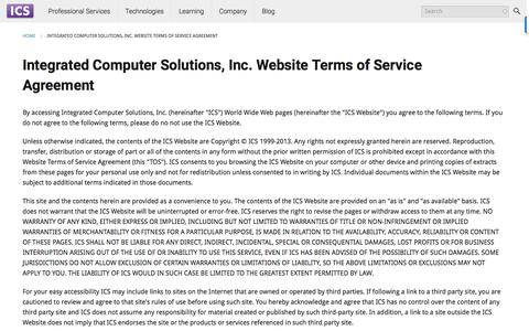 Screenshot of Terms Page ics.com - Integrated Computer Solutions, Inc. | ICS - Integrated Computer Solutions - captured Aug. 28, 2016
