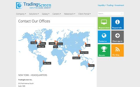 Screenshot of Contact Page tradingscreen.com - Contact Our Offices - captured Aug. 16, 2016
