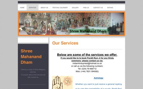 Screenshot of Services Page panditravi.com - panditravi.com - Services - captured March 1, 2017