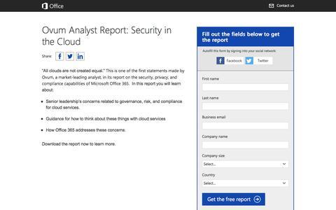 Screenshot of Landing Page office.com - Ovum Analyst Report: Security in the Cloud - captured June 6, 2016